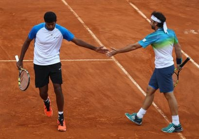 Rohan Bopanna of India and Florin Mergea. Getty Images