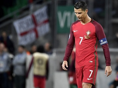 Portugal forward Cristiano Ronaldo dejected after his team's 1-1 draw against Iceland. AFP