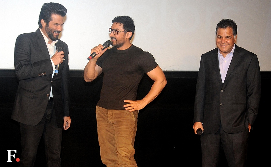 Anil Kapoor and Aamir Khan engaged in some banter on stage before presenting the trailer to the audience.<br />Image by Sachin Gokhale/Firstpost