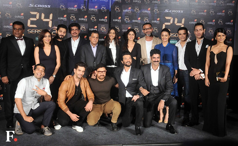 The entire 24 team — including Angad Bedi, Neil Bhoopalam, Sikander Kher and Harsh Chhaya — then posed for the shutterbugs. Image by Sachin Gokhale/Firstpost