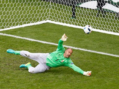 Hungary's Gabor Kiraly makes a save against Austria. Reuters