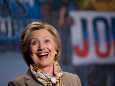 Democratic presidential candidate Hillary Clinton smiles after speaking at the 2016 Legislative Conference of North America's Building Trades Unions in Washington, Tuesday, April 19, 2016. (AP Photo/Pablo Martinez Monsivais)