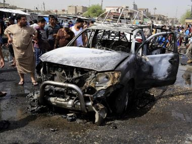 The site of one the blasts in Baghdad which killed 12 civilians. AP