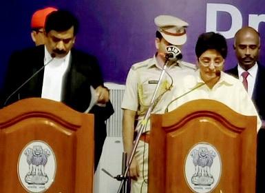 Puducherry Lt. Governor Kiran Bedi taking oath. PTI