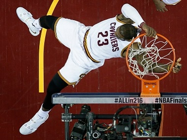 Cleveland Cavaliers' forward LeBron James dunks during Game 6 of the NBA finals. AP