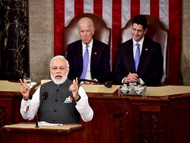 Prime Minister Narendra Modi addresses a joint meeting of Congress on Capitol Hill. PTI.