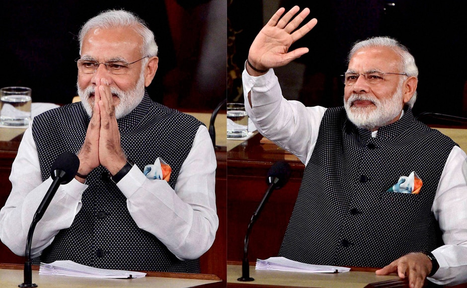 PM Narendra Modi gestures while addressing a joint meeting of Congress on Capitol Hill in Washington. PTI