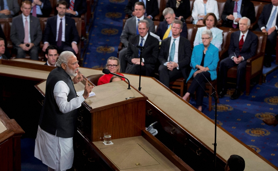 PM Narendra Modi addressing a joint meeting of Congress on Capitol Hill in Washington. PTI