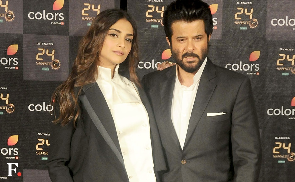 Sonam Kapoor and Anil Kapoor made for an incredibly photogenic father-daughter pair on the red carpet at the event. Anil looked decidely more well-groomed and suave than his onscreen avatar in the trailer, ACP Jai Singh Rathod aka the desi Agent Jack Bauer.<br />Image by Sachin Gokhale/Firstpost