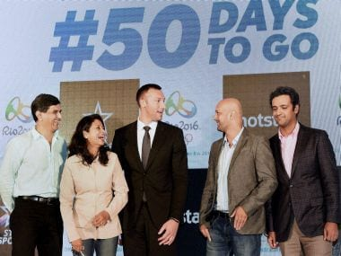 Viren Rasquinha with Prakash Padukone, Anjali Bhagwat, Ian Thorpe, Rehan Poncha during a promotional event ahead of Rio Olympics 2016. PTI