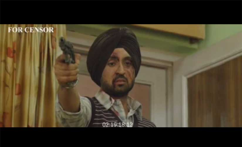 Diljit Dosanjh in a screengrab from the leaked copy of 'Udta Punjab'