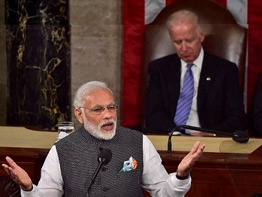 Washington: Prime Minister Narendra Modi addressing a joint meeting of Congress on Capitol Hill in Washington on Wednesday. Vice President Joe Biden and House Speaker Paul D. Ryan are seen at the behind. PTI
