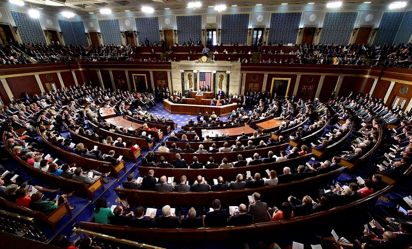 Prime Minister Narendra Modi addressing a joint meeting of Congress on Capitol Hill in Washington on Wednesday. PTI