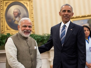 President Barack Obama meets Prime Minister Narendra Modi in the Oval Office of the White House in Washington on Tuesday. PTI