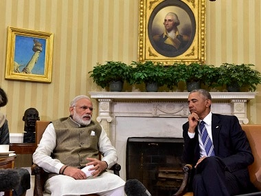 Washington : Prime Minister Narendra Modi speaks as US President Barack Obama looks on during their joint press briefing in the Oval Office of the White House in Washington on Tuesday. PTI