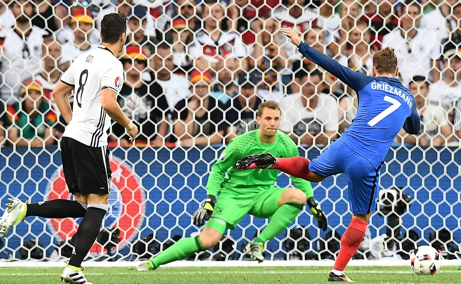 Antoine Griezmann took up the mantle for France with two goals that crushed world champions Germany. AFP