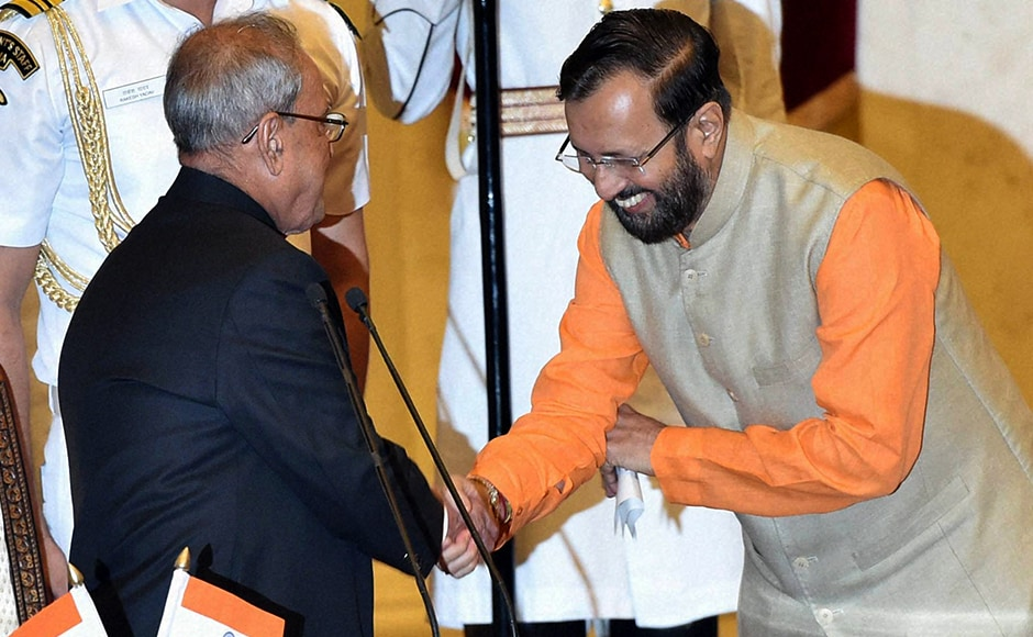 Rajya Sabha MP Prakash Javadekar was the only one to be sworn-in as Cabinet minister. Previously, he was MoS, Environment and Forests. PTI