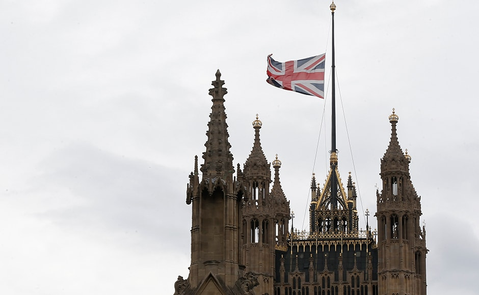 A Union flag flies at half-mast in memory of the Bastille Day truck attack in Nice, at the Houses of Parliament in London, Britain on 15 July 2016. Reuters