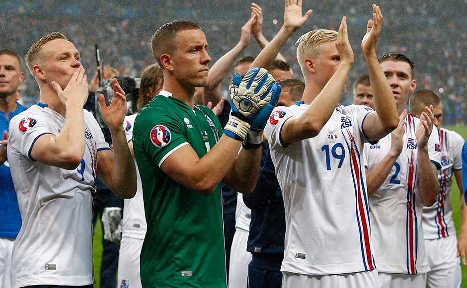 What a story! Iceland players thank their fans for their support at Euro 2016 as they exit the competitions with their heads held high. AP