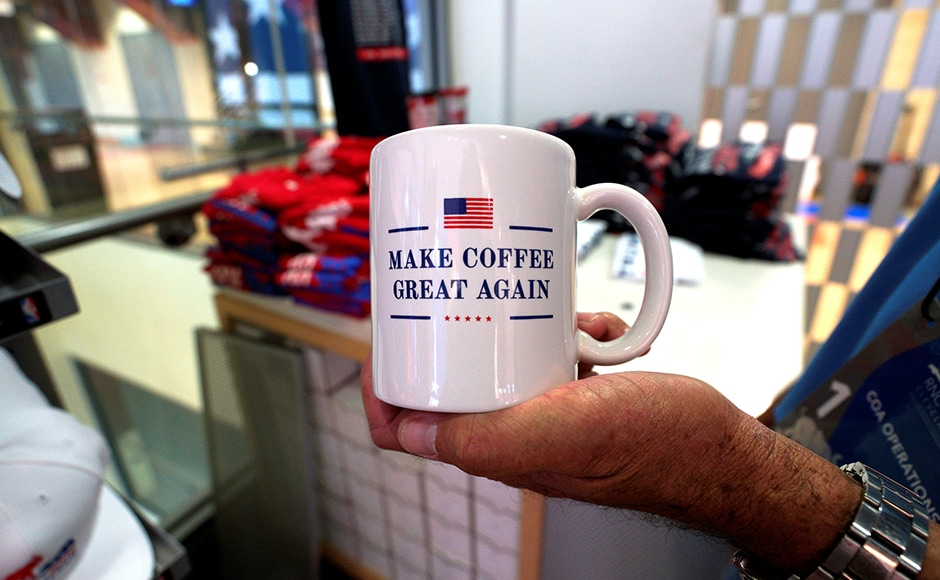 An American-made coffee mug is seen on sale at the RNC. Presumptive Republican presidential candidate Donald Trump has run his campaign on the slogan Make America Great Again. Reuters