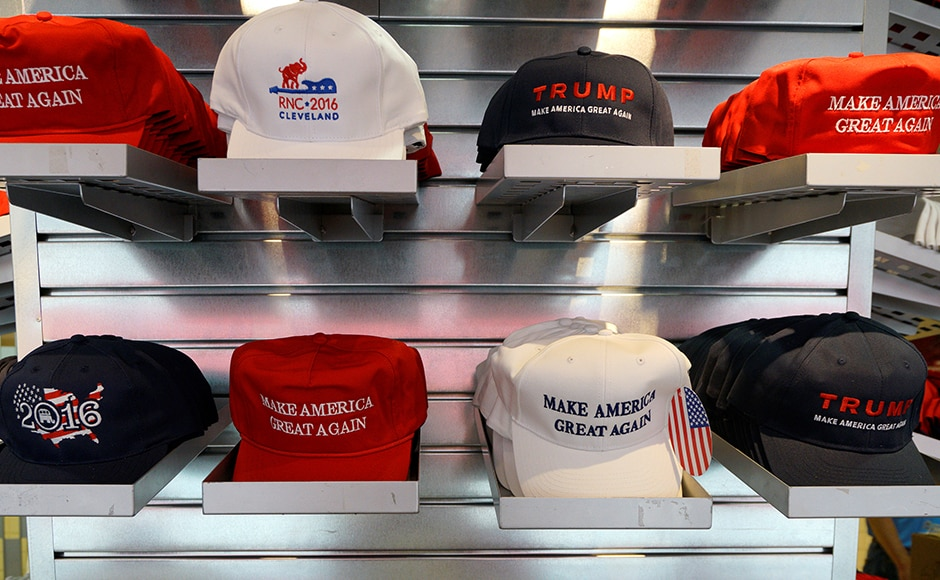 A selection of American made hats are seen on sale at the Republican National Convention. Reuters