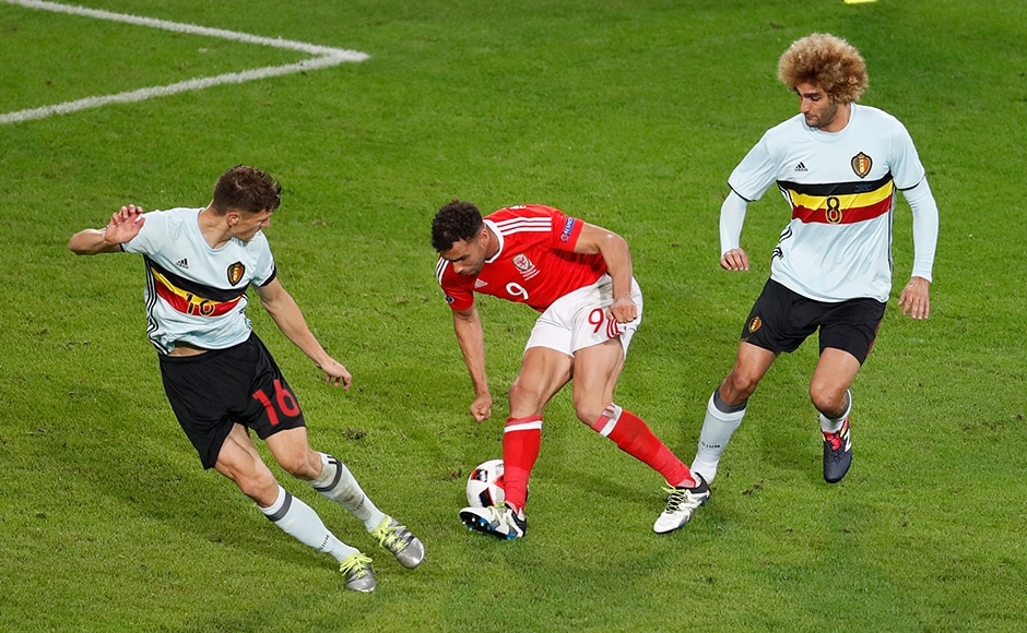 The moment of the Quarter-finals: Wales' Hal Robson-Kanu with a Cryuff turn that left the Belgium defence red-faced and trailing despite taking a 1-0 lead in the game. AP