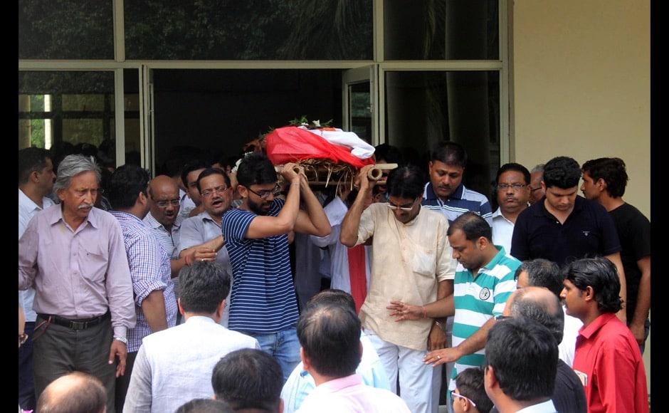 Relatives of the slain teenager Tarishi Jain carry her body for her last rituals, in Gurugram.Jyoti Kapoor/Solaris Images