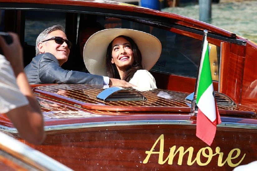 VENICE, ITALY - SEPTEMBER 29: George Clooney and Amal Alamuddin sighted on the way to their civil wedding at Canal Grande on September 29, 2014 in Venice, Italy. (Photo by Robino Salvatore/GC Images)