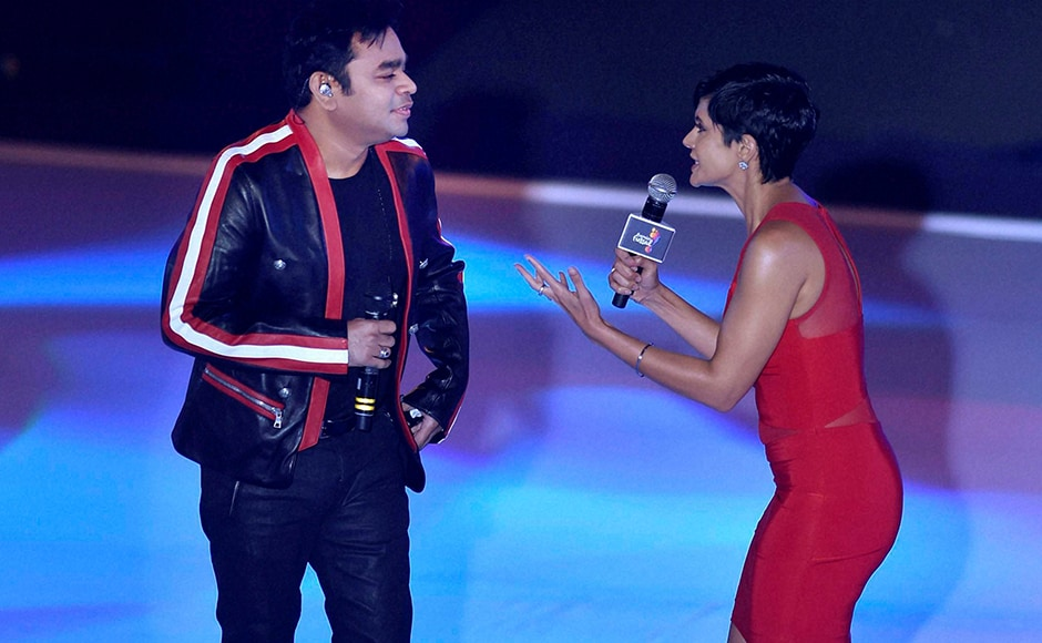Music composer A R Rahman and Mandira Bedi during the inaugural session of Premier Futsal Football League, in Chennai on Friday. PTI Photo by R Senthil Kumar (PTI7_15_2016_000274B)