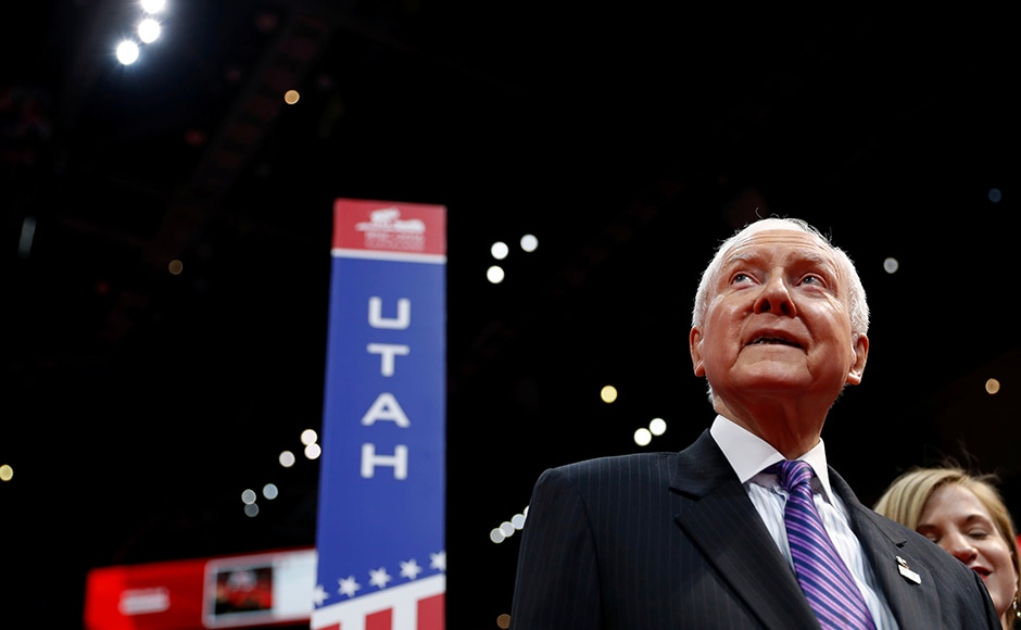 Sen. Orrin Hatch (R-UT) atsurveys the floor of the Republican National Convention from the seats of the Utah delegation. Reuters