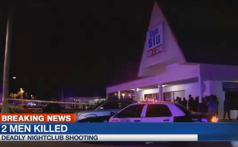 In this frame from video, people gather near the scene of a fatal shooting at Club Blu nightclub in Fort Myers, Fla., Monday, July 25, 2016. (WBBH via AP)