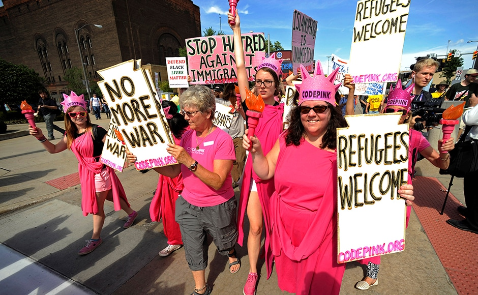 "Code Pink activists march down Euclid Avenue during a demonstration against the RNC in Cleveland. This is not the first time the activists have demonstrated against Trump. In June, Code Pink protesters crashed his campaign rally in Washington before police made them leave the venue. Trump shrugged off the incident, saying, ""A little freedom of speech...very rude, but what are you gonna do?"" Reuters"