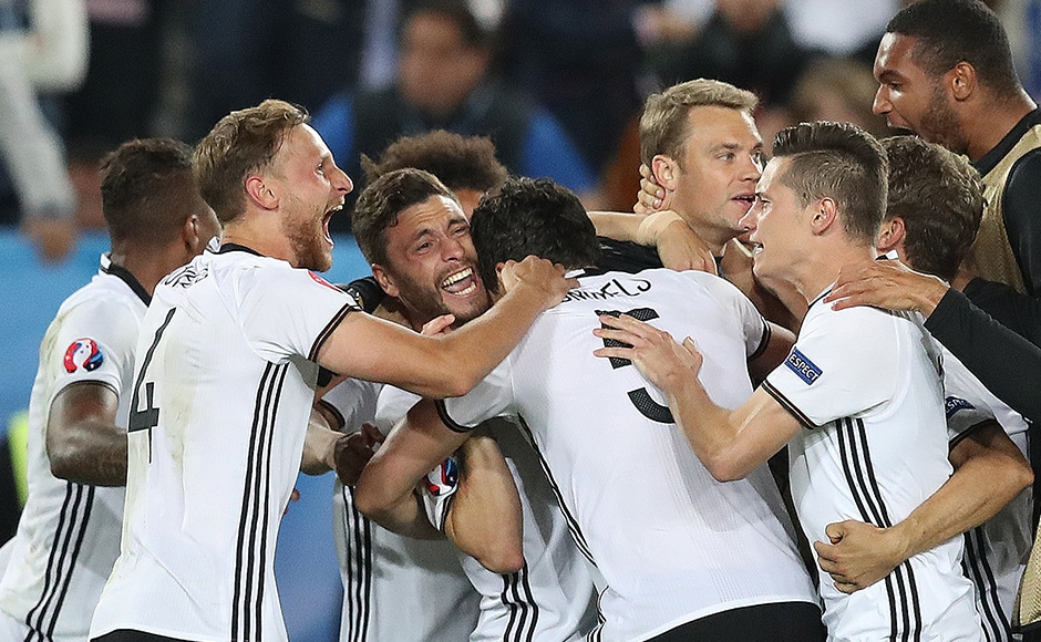 Its ecstasy for the German players who make their third consecutive semi-final at the European Championships. AP