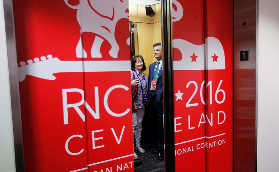 "Paul Manafort, campaign manager to Donald Trump, and his wife Kathleen ride the elevator at the RNC. Manafort said in a news conference that Trump and his wife would fly to Cleveland in the hours before Melania's speech at the convention. The GOP presidential nominee-in-waiting will introduce his wife onstage, Manafort said. Trump said earlier in the day on ""Fox & Friends"" that his wife will speak about her ""love of the country"" as an immigrant from Slovenia. Melania Trump will be the first of several members of the candidate's family who will speak at the convention to ""paint a picture"" of Trump's character beyond what America ""saw during the primaries,"" Manafort said. Reuters The couple will then return to New York. Trump is slated to return to Cleveland on Wednesday. His acceptance speech is scheduled for Thursday."