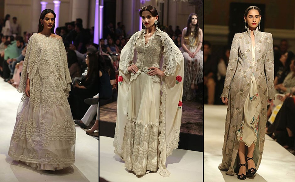 Khanna's collection used a myriad of hues such as white, beige, gold, salmon pink, celadon green, fiery red, black and yellow. Facebook/ Fashion Design Council of India