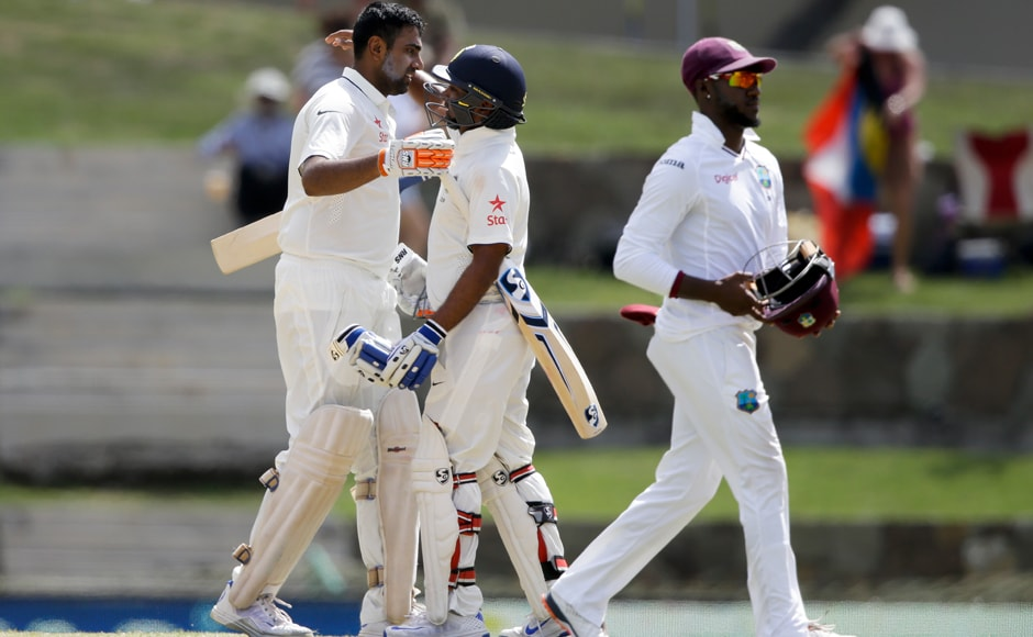 Ashwin's century effort was appreciated by fellow spinner Amit Mishra as India amassed a massive 566 runs in the first innings. AP