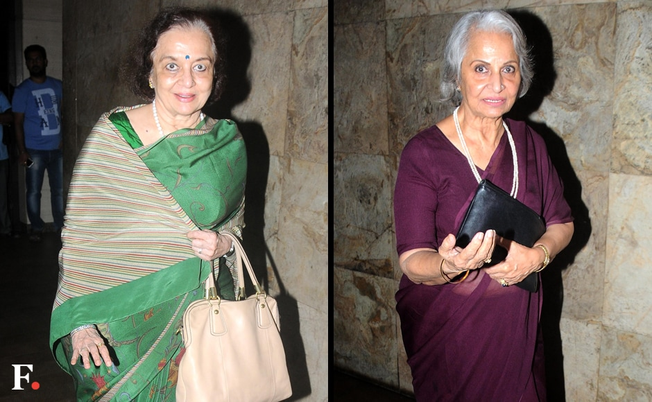 The eternally graceful Asha Parekh and Waheeda Rehman were also present at the screening. Image bySachin Gokhale/Firstpost
