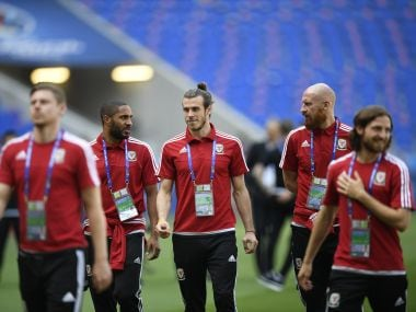 Gareth Bale and Ashley Williams ahead of Portugal Euro 2016 tie. AFP