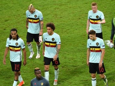 Belgium players react after their Euro 2016 quarter-final loss to Wales. AFP