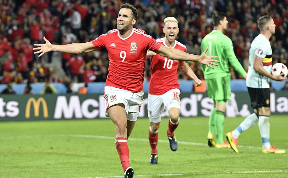 Wales' Hal Robson Kanu celebrates after scoring Wales' second goal, a dazzling strike that gave his side the lead. AP