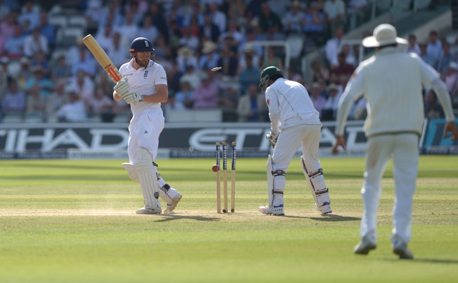 England's Johnny Bairstow is bowled out by Pakistan's Yasir Shah during day four, a pivotal moment that led to Pakistan's win. AP