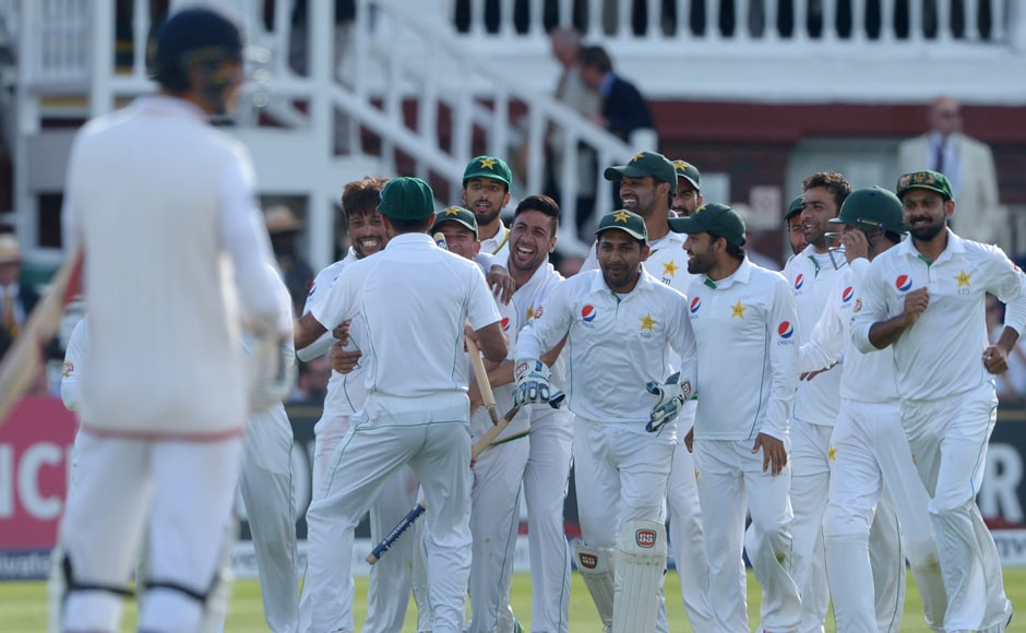 The Pakistan team celebrate winning their match against England on day four at Lord's. AP