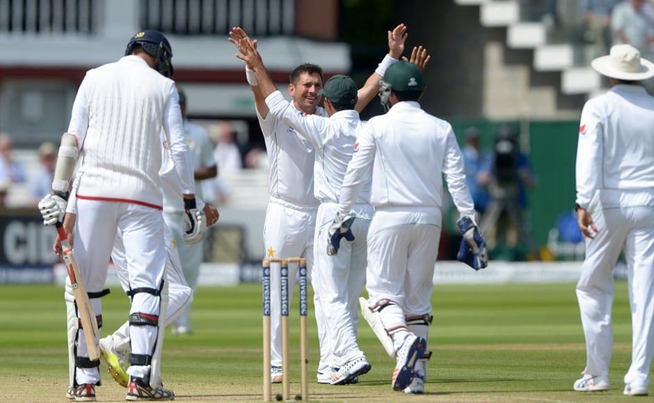 Pakistan's Yasir Shah celebrates after a wicket. Shah's return of 10 for 141, including second-innings figures of four for 69, was pivotal to Pakistan's 75-run win over England. AP