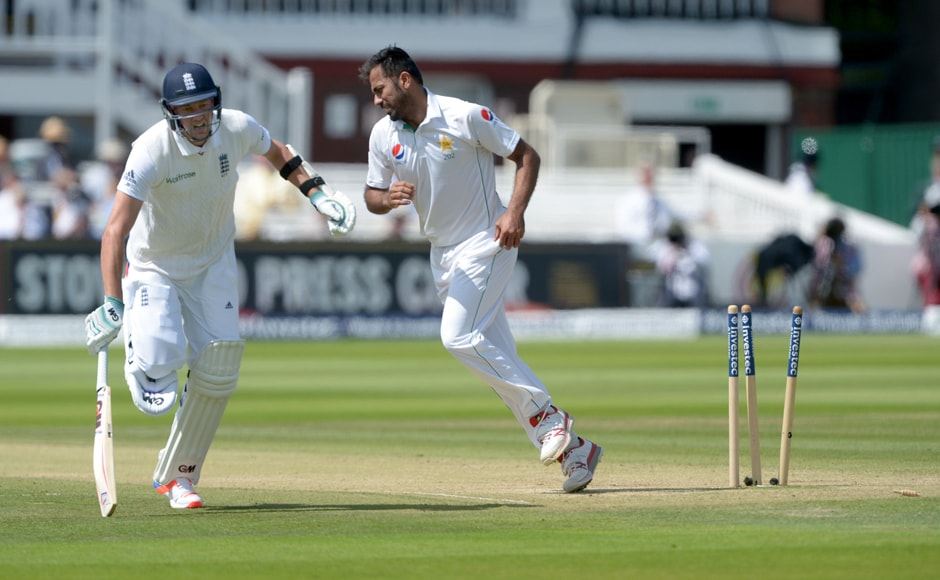 England's Jake Ball is run-out by Pakistan's Wahab Riaz. AP