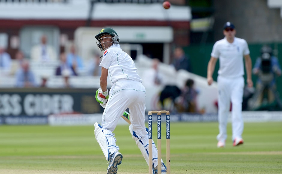 Pakistan veteran Younis Khan bats during the Test. AP