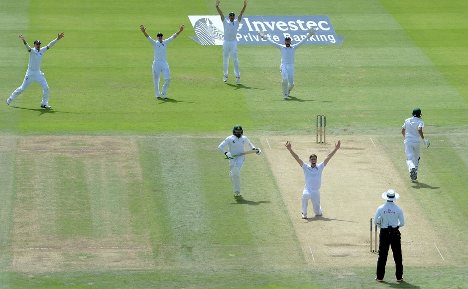 England's Chris Woakes celebrates taking the wicket of Pakistan's Azhar Ali. One consolation for England was the form of all-rounder Chris Woakes who had excellent match figures of 11 for 102. AP
