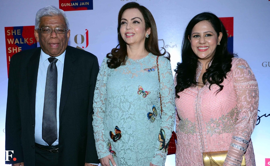 """(l-r) HDFC Chairman Deepak Parekh, Nita Ambani and Gunjan Jain. """"I wanted to document not the successes of successful women but the hard struggles they went through to get to the pinnacle. These are women who succeeded in shattering the glass ceiling, but for most it was not easy,"""" saidJain. Sachin Gokhale/Firstpost"""