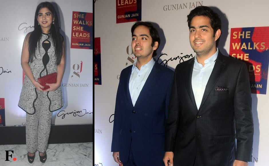 Mukesh Ambani's children Isha, Anant and Akash Ambani also attended the book launch. Sachin Gokhale/Firstpost