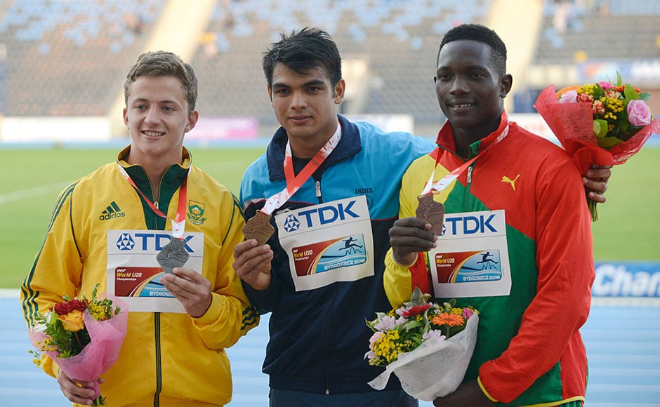 Neeraj Chopra with his gold medal at the U20 World Championships after a massive 86.48m throw won him top honours in Poland. Getty
