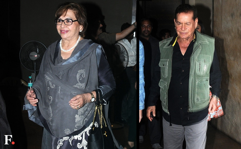 True to form, the entire 'Khan-daan' turned up for the screening. Snapped here, are Helen and Salman's father, Salim Khan. Image by Sachin Gokhale/Firstpost